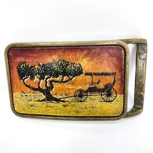 Brass Belt Buckle Leather Face Tree and Buggy